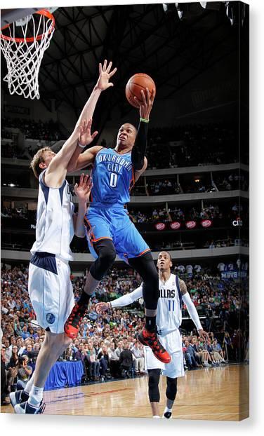 Russell Westbrook Canvas Print - Oklahoma City Thunder V Dallas Mavericks by Glenn James
