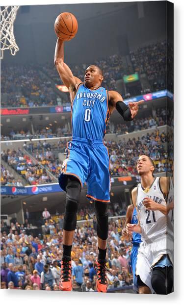 Russell Westbrook Canvas Print - Oklahoma City Thunder Vs Memphis by Jesse D. Garrabrant