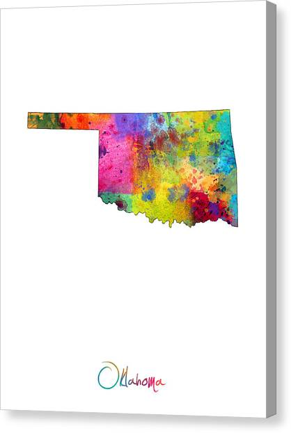 Oklahoma Canvas Print - Oklahoma Map by Michael Tompsett