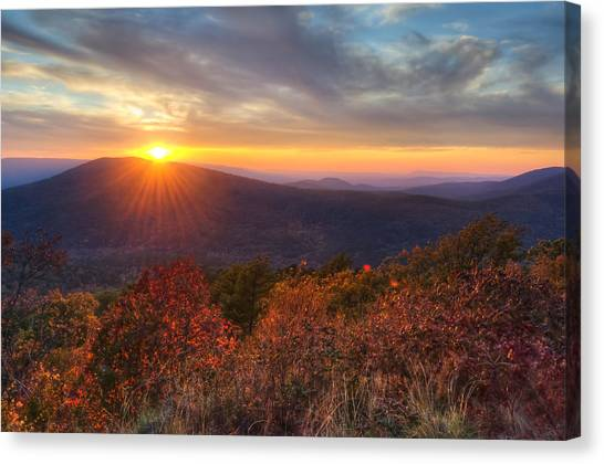 Canvas Print featuring the photograph Oklahoma Mountain Sunset - Talimena Scenic Byway by Gregory Ballos