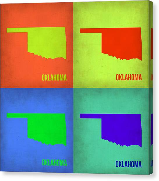 Oklahoma Canvas Print - Oklahoma Pop Art Map 1 by Naxart Studio
