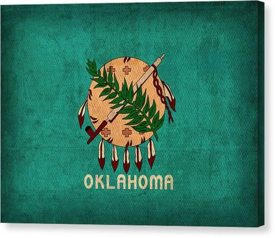 Oklahoma Canvas Print - Oklahoma State Flag Art On Worn Canvas by Design Turnpike
