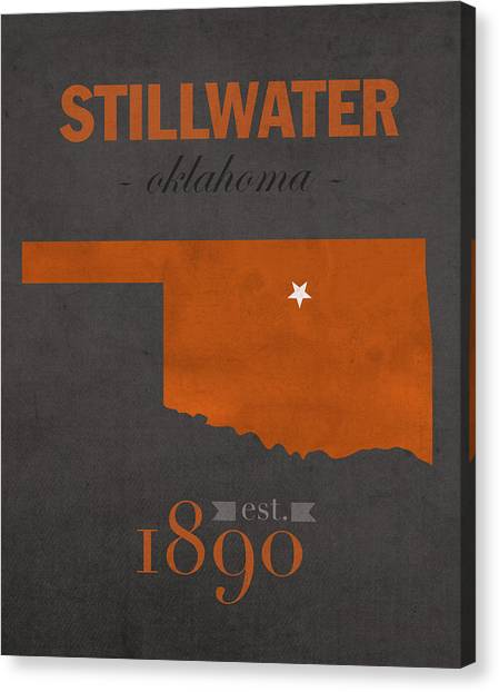 Oklahoma State University Canvas Print - Oklahoma State University Cowboys Stillwater College Town State Map Poster Series No 084 by Design Turnpike