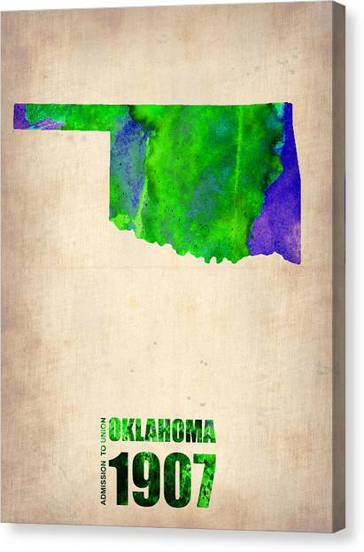 Oklahoma Canvas Print - Oklahoma Watercolor Map by Naxart Studio