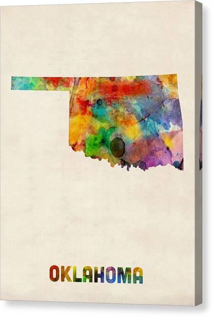 Oklahoma Canvas Print - Oklahoma Watercolor Map by Michael Tompsett