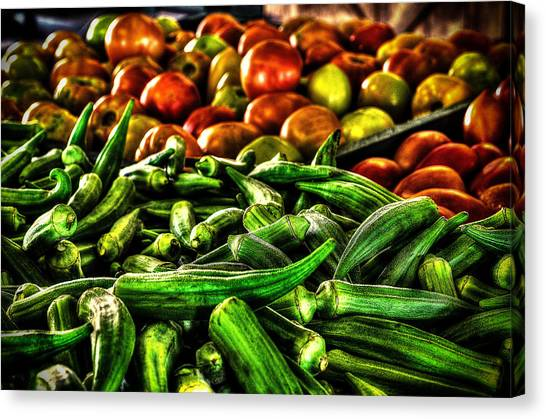 Okra And Tomatoes Canvas Print