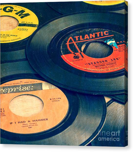 Music Canvas Print - Old 45 Records Square Format by Edward Fielding