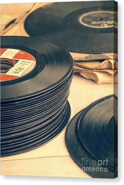 Music Canvas Print - Old 45s by Edward Fielding
