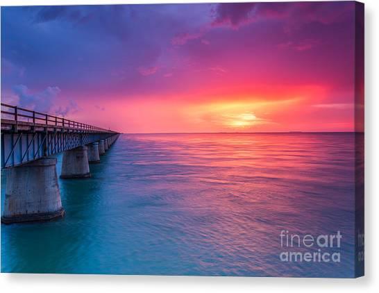 Old 7 Mile Bridge Sunset Canvas Print