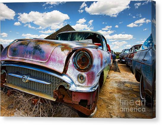 Old Abandoned Cars Canvas Print