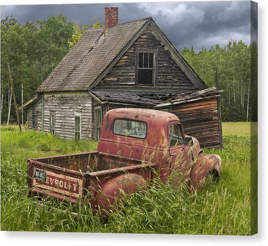 Old Abandoned Homestead And Truck Canvas Print