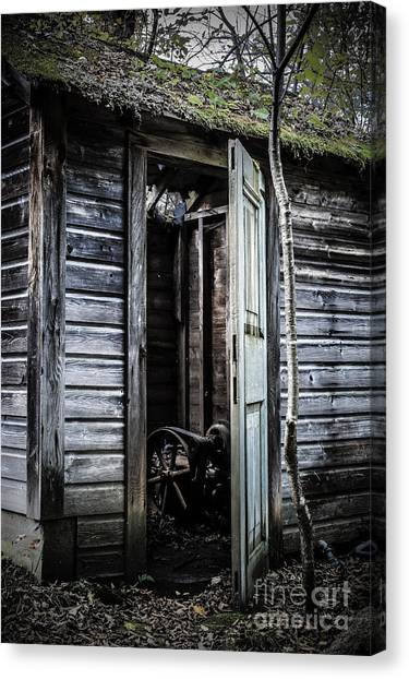 Old Houses Canvas Print - Old Abandoned Well House With Door Ajar by Edward Fielding