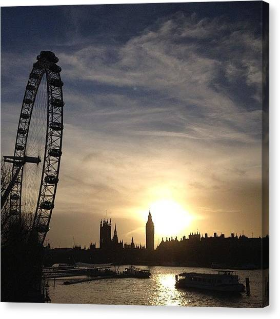 London Eye Canvas Print - Old And New by Peter Bromfield