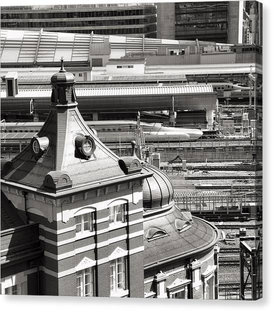Bullet Trains Canvas Print - Old And New Tokyo Station by For Ninety One Days