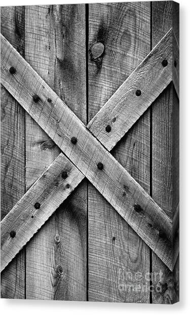Old Barn Door In Black And White Canvas Print