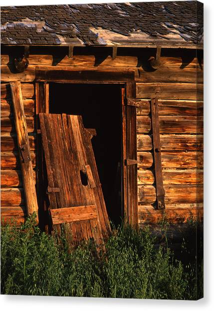 Old Barn Door Canvas Print by Mike Norton