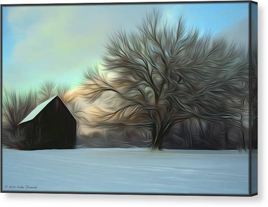 Old Barn In Snow Canvas Print