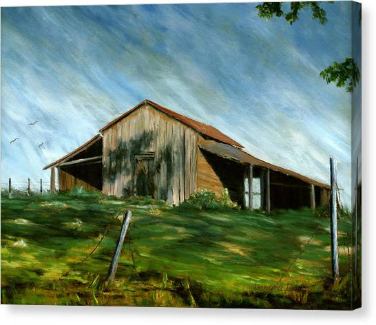 Old Barn Landscape Art Pleasant Hill Louisiana  Canvas Print