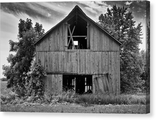 54435c7af7f Black And White Barn. Canvas Print - Old Barn by Ricky L Jones