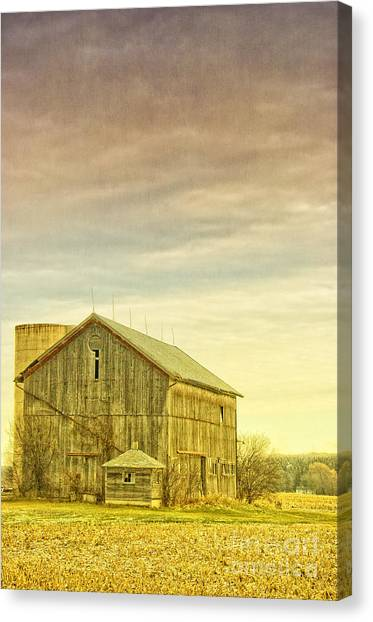 Old Barn With Silo Canvas Print