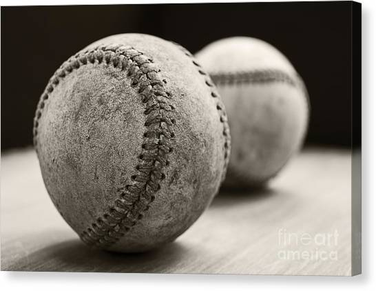 Baseball Canvas Print - Old Baseballs by Edward Fielding