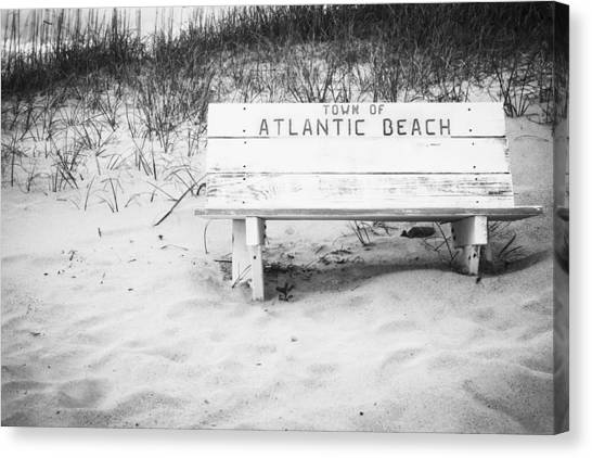 Old Beach Bench Canvas Print