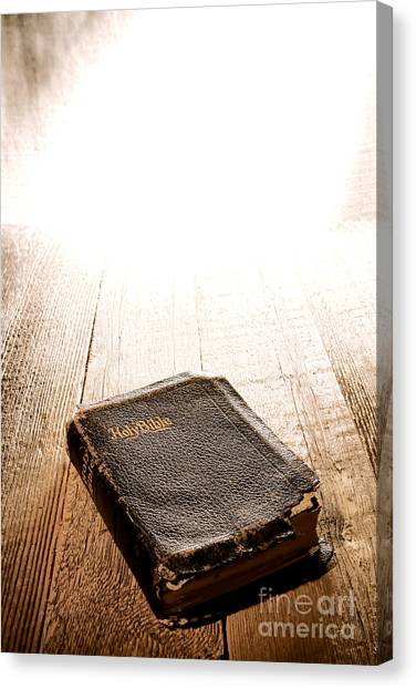 Holy Bible Canvas Print - Old Bible In Divine Light by Olivier Le Queinec