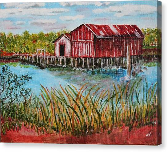 Old Boat House On Causeway Canvas Print