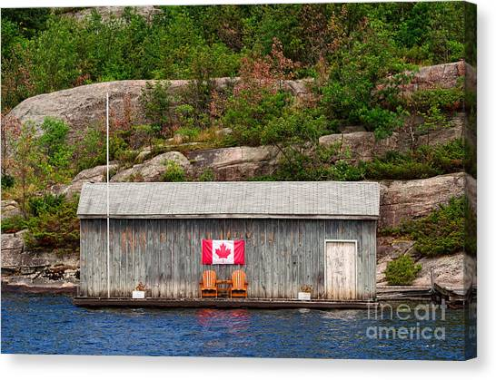 Old Boathouse With Two Muskoka Chairs Canvas Print