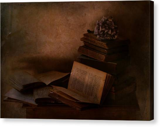 Notes Canvas Print - Old Books by Delphine Devos