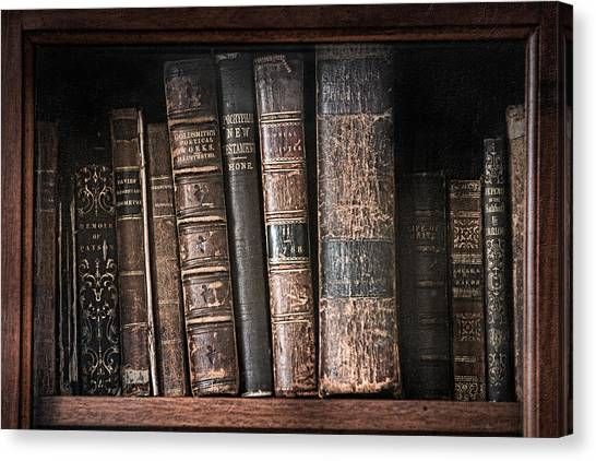 Old Books On The Shelf - 19th Century Library Canvas Print