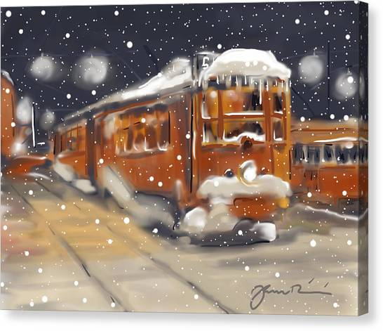 Old Boston Trolley In The Snow Canvas Print