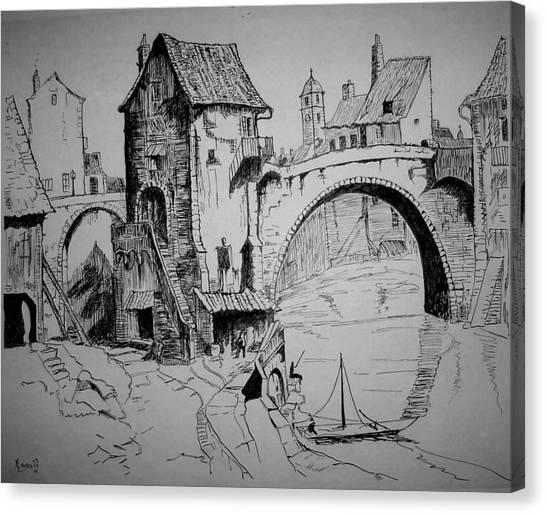 Old Bridge Canvas Print by Maxwell Mandell