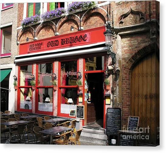 Old Brugge Tavern Canvas Print by Mel Steinhauer