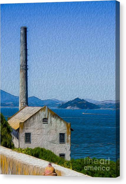 Old Building At Alcatraz Island Prison Canvas Print