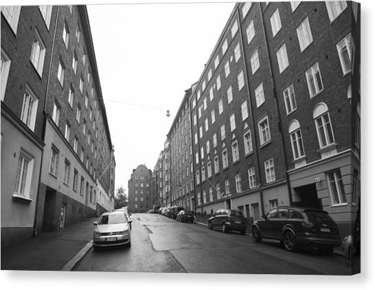Old Buildings Located At Empty Streets Of Helsinki Finland Canvas Print by Tekinturkdogan