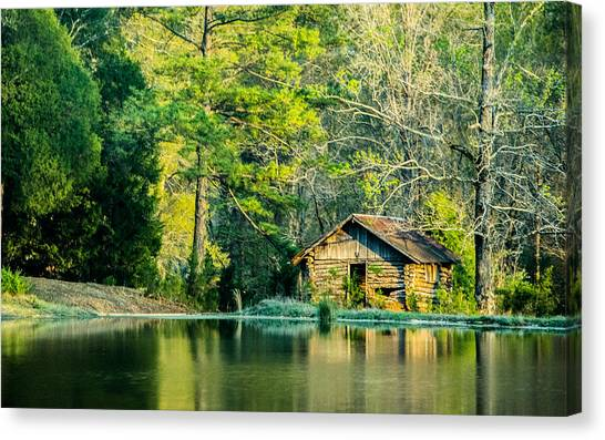 Old Cabin By The Pond Canvas Print