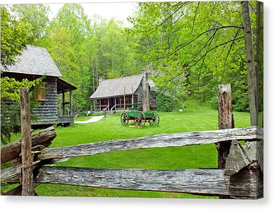 Old Cabins At The Cradle Of Forestry Canvas Print