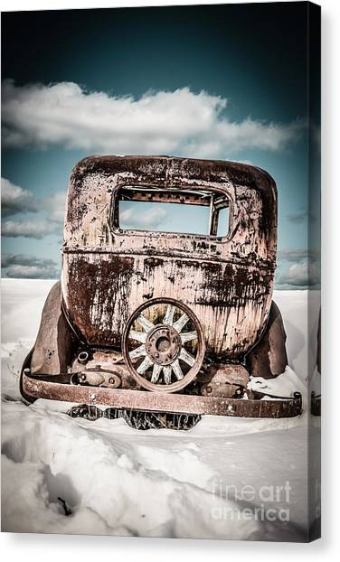 Snow Bank Canvas Print - Old Car In The Snow by Edward Fielding