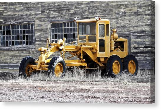 Caterpillers Canvas Print - Old Cat Road Grader by Steve McKinzie