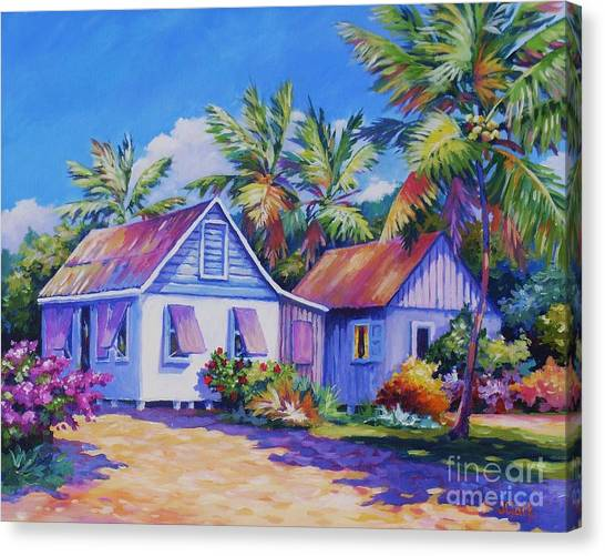 Bahamas Canvas Print - Old Cayman Cottages by John Clark