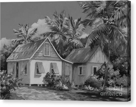 Black 7 White Canvas Print - Old Cayman Cottages Monochrome by John Clark