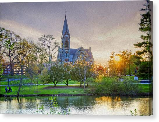 University Of Massachusetts Amherst Umass Amherst Canvas Print - Old Chapel At Sunset by Donna Doherty