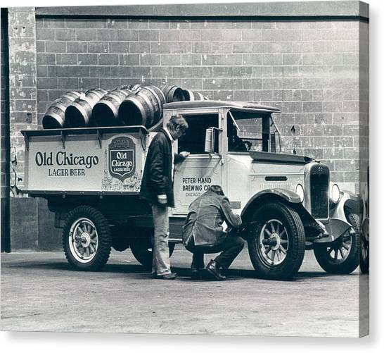 Vintage Chicago Canvas Print - Old Chicago Beer Vintage Truck Delivery by Retro Images Archive