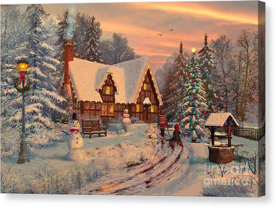 Winter Fun Canvas Print - Old Christmas Cottage by MGL Meiklejohn Graphics Licensing