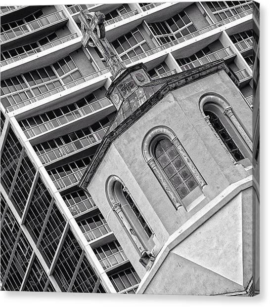 Religious Canvas Print - Old Church & New Skyscraper - Miami by Joel Lopez