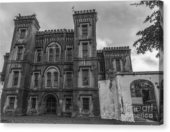 Old City Jail In Black And White Canvas Print