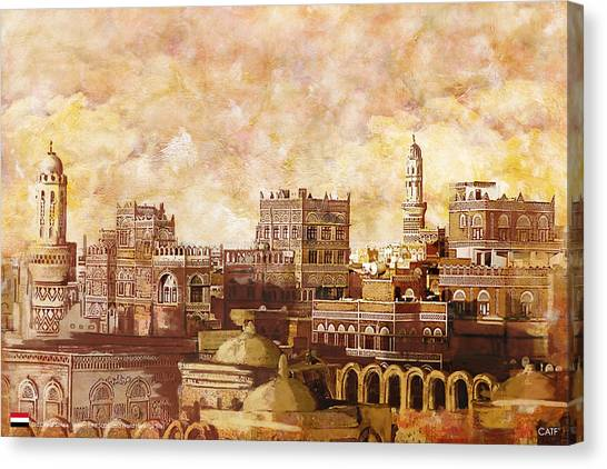 Castle Canvas Print - Old City Of Sanaa by Catf