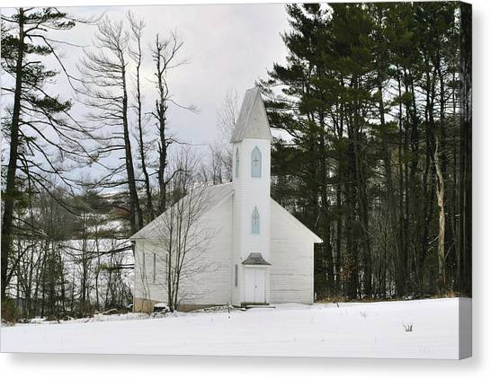 Old Country Church In The Winter Woods  Canvas Print