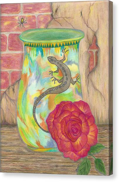 Old Crock And Rose Canvas Print